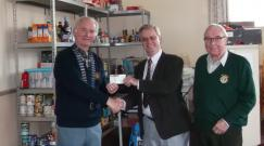 cheque presentation to Ottery St Mary Food Bank