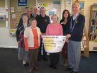 Presentation by Lion President Ed of the £156 from Easter Egg raffle