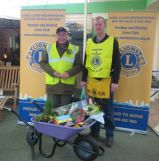 Lions Trevor and Bill with the Wheelbarrow at Otter Nursuries