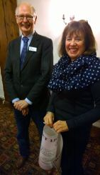Lions Presidents wife Lyn Guilbert with trevor Bolshow from Hospiscare
