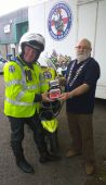 Lion President Brian with Dan from Freewheelers and DeFib