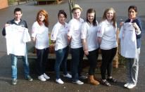 The 5 pupils and two members of staff with T shirts ready for Ethiopia