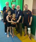 Lions President Brian with Pam and James from Gymnastics club, and young members