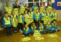 Scouts with their Hi-Vis jackets with Lion President Brian