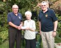 Lion Bill and Bernard present cheque for �250 to VisionOM