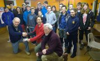 Lions Ed and Tom presenting £100 to Scouts